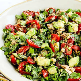 Tomato Salad with Avocado, Tuna, Cilantro, and Lime.