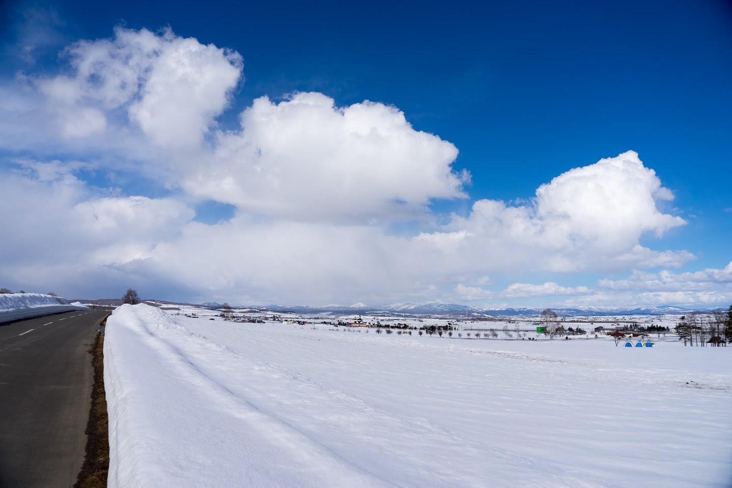 ひまわりの里はまだ雪で覆われています。
