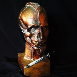 DAMAGE DONE I by Alycia Marshall-Steen - Artistic Objects Still Life ( life, death, damage done, needle, bronze man, bronze skull )