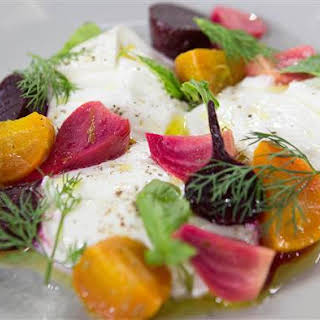 Roasted Baby Beets with Burrata, Lime and Garden Herbs.