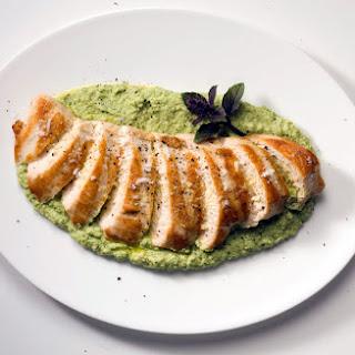Grilled Chicken with Edamame Skordalia.