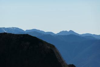 右から光岳・兎岳・聖岳・赤石岳など