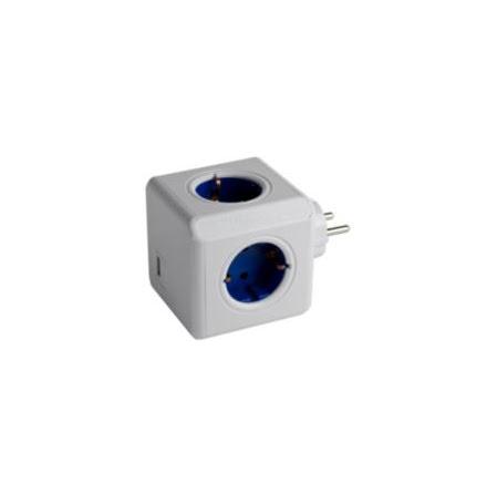 Grenuttag, PowerCube Original USB, jordat, 4-vägs plus USB