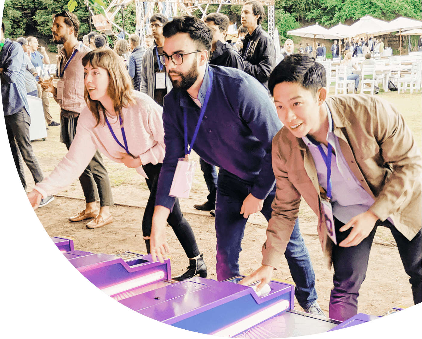 Employees at an event