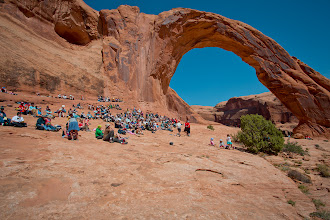Photo: A view of the groupunder Corona Arch, during the Adventure Rabbi Passover Seder in Moab, Utah.
