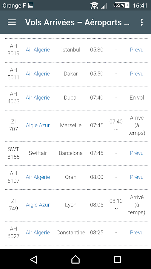 Dz fly alg rie horaire vols android apps on google play for Air algerie vol interieur horaire