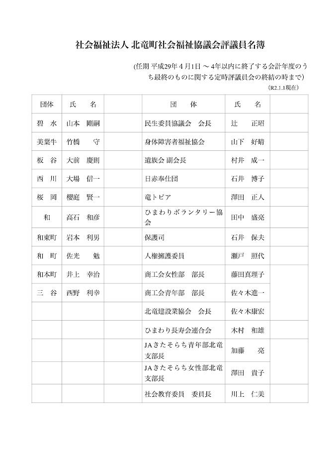 北竜町社会福祉協議会評議員名簿