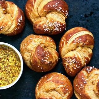 Sweet Potato Pretzel Knots With Curried Mustard [Vegan]