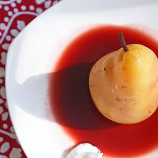 Slow Cooker Cherry Poached Pears with Coconut Cream.