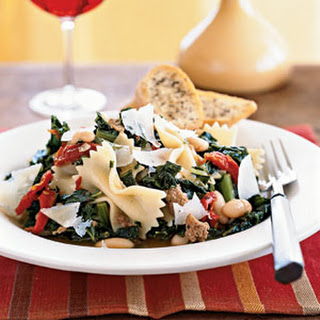 Farfalle with Sausage, Cannellini Beans, and Kale.