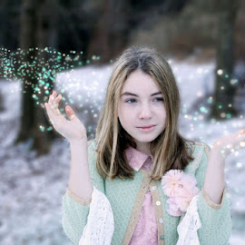 Fairydust by Sandy Considine - Babies & Children Child Portraits ( fairydust, green sweater, girl )