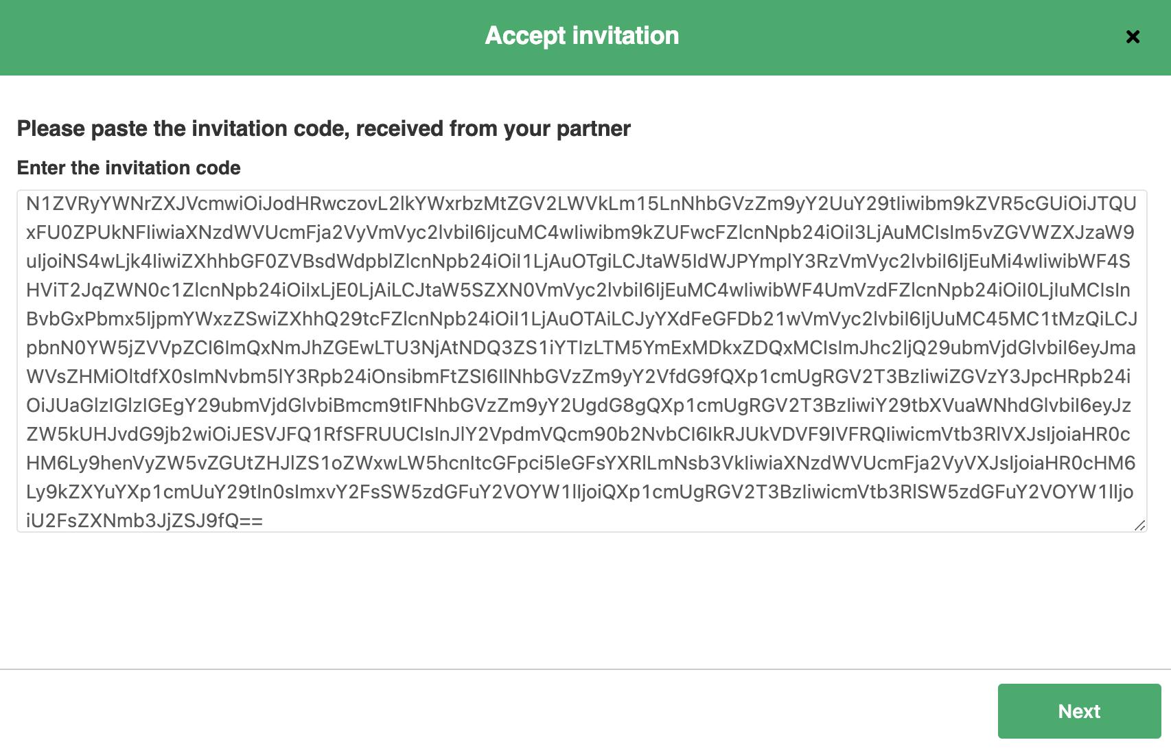 paste exalate invitation code