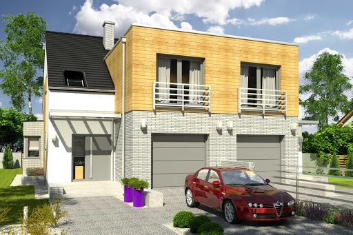 projekt Bazyli trend z garażem 1-st. bliźniak A-BL1
