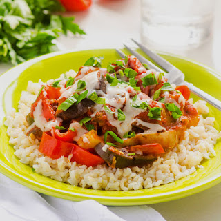Eggplant and Pepper Marinara with Rice.