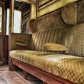 First Class Cabin by Marco Bertamé - Transportation Trains ( first class, interior, cabin, wood, vintage, train, brown, seats, yellow, train 1900, velvet )