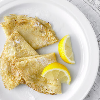 French Crêpes with Lemon and Sugar.