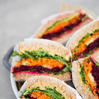 Vegetable Sandwich With Chipotle Hummus.