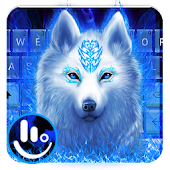 Blue Flame White Wolf Keyboard Theme
