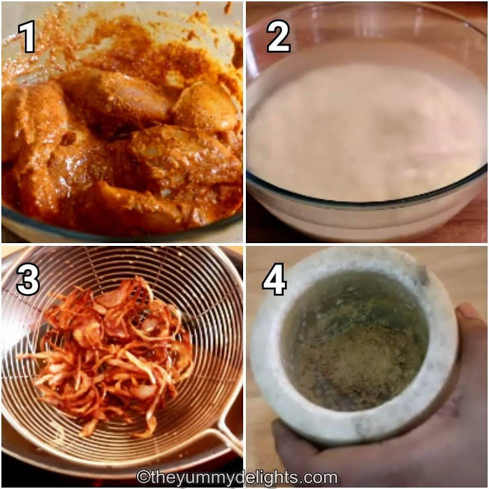 step by step image collage of marinated chicken, soaked rice, fried onions & spice powder