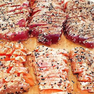 Chilled Honey-Soy Tuna & Salmon Sashimi with Jalapeño Dipping Sauce.