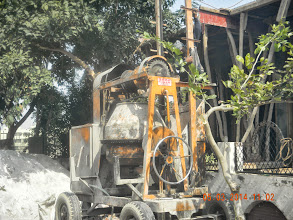 Photo: The Concrete mixer used for casting roof.. this is an outsourced job, generally