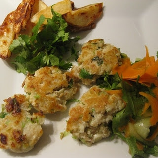 Asian Fish Cakes With Chips And Sesame Carrot Salad.