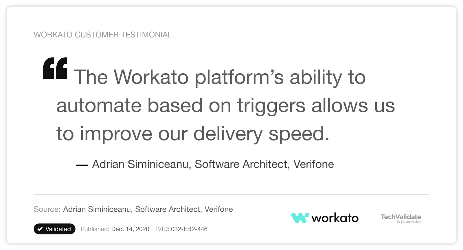 A customer testimonial that cites Workato's ability to improve their organization's delivery speed