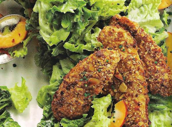 Almond Crusted Chicken And Nectarines Salad With B