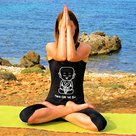 Padmasana by Svetlana Saenkova - Sports & Fitness Other Sports ( coast, woman, seaside, padmasana, yoga, black wear, black clothes, summer, summertime,  )