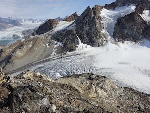 Crevasses in the icefall below Island Peak