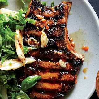 Habanero-Marinated Pork Chops With Mustard Greens Slaw