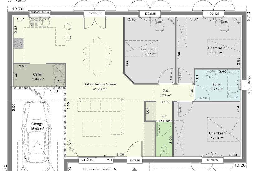 Vente Terrain + Maison - Terrain : 400m² - Maison : 90m² à Saint-Quentin-de-Baron (33750)