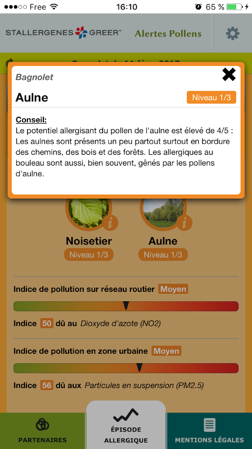 Alertes Pollens- screenshot