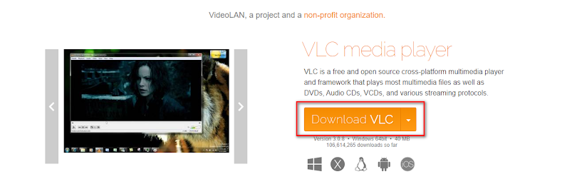 Click on the Download VLC button to download the latest version of the VLC media player installation executable