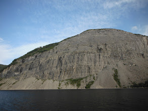 Photo: Anchored under the cliffs at the narrows in Goose Arm.