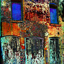 Painted Building by Edward Gold - Digital Art Things ( red, orange, digital photography, boarded windows, green, blue, boarded doors, old building, yellow, mold, colorful, digital art )