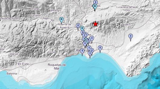 Un terremoto de 2,9 grados se deja sentir en varias localidades de Almería