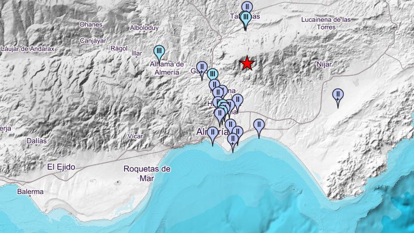 Zonas de la provincia de Almería en las que se ha sentido el temblor, según la web del Instituto Geográfico Nacional.