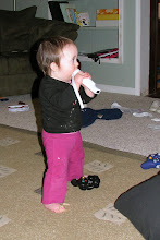 """Photo: Abby """"playing"""" the Wii"""