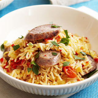 Red Curry Pilau with Sausages.