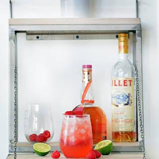 Grand Marnier and Lillet Blanc Raspberry Peach Cocktail.