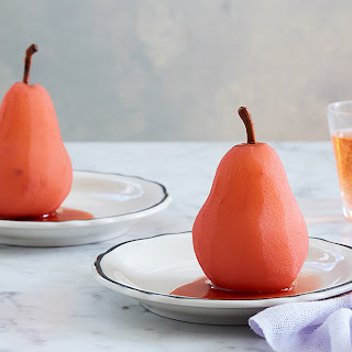 Rosé Poached Pears with Ginger and Vanilla Recipe
