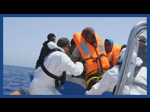 Private rescue organisation Migrants Offshore Aid Station (MOAS) search for and save migrants stranded at sea.