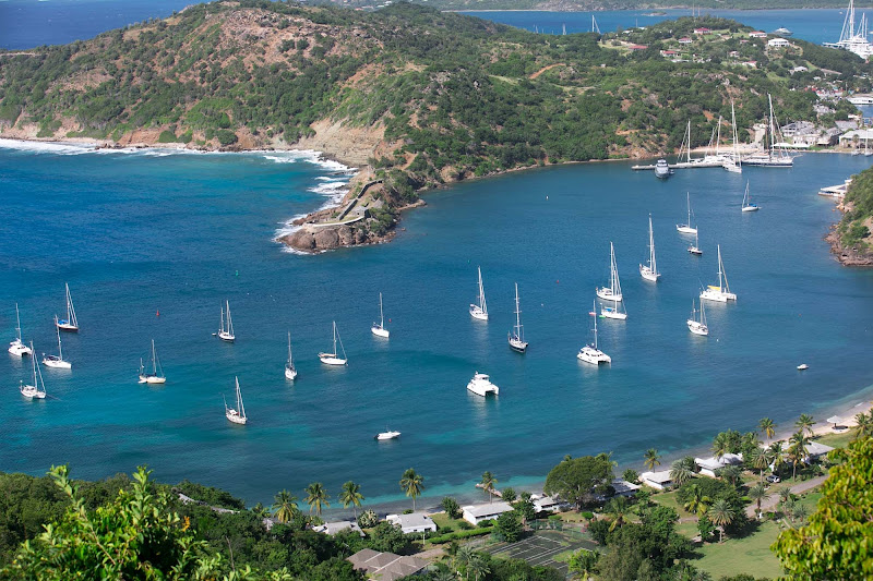 View of historic English Harbour from Shirley Heights in Antigua.