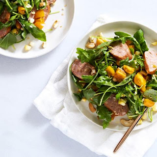 Herbs, Corn and Cashew Salad with Sausage