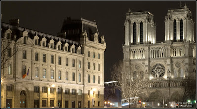 Photo: at night in the old beautiful city of Paris