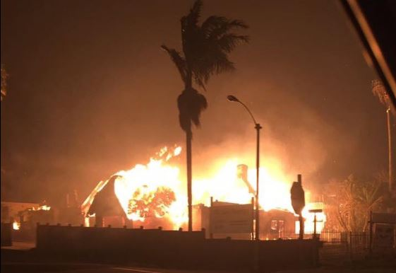 A building burns in Knysna.   Picture: KNYSNA UPDATE