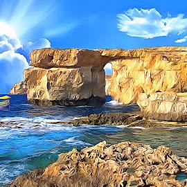 Azure Window Maltese Island of Gozo by James Morris - Digital Art Places ( azure window, malta, maltese island, gozo )