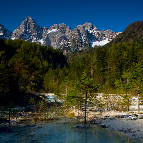 Spring in the mountains by Bojan K - Landscapes Mountains & Hills ( spring, slovenia, mountains, reflection, water )