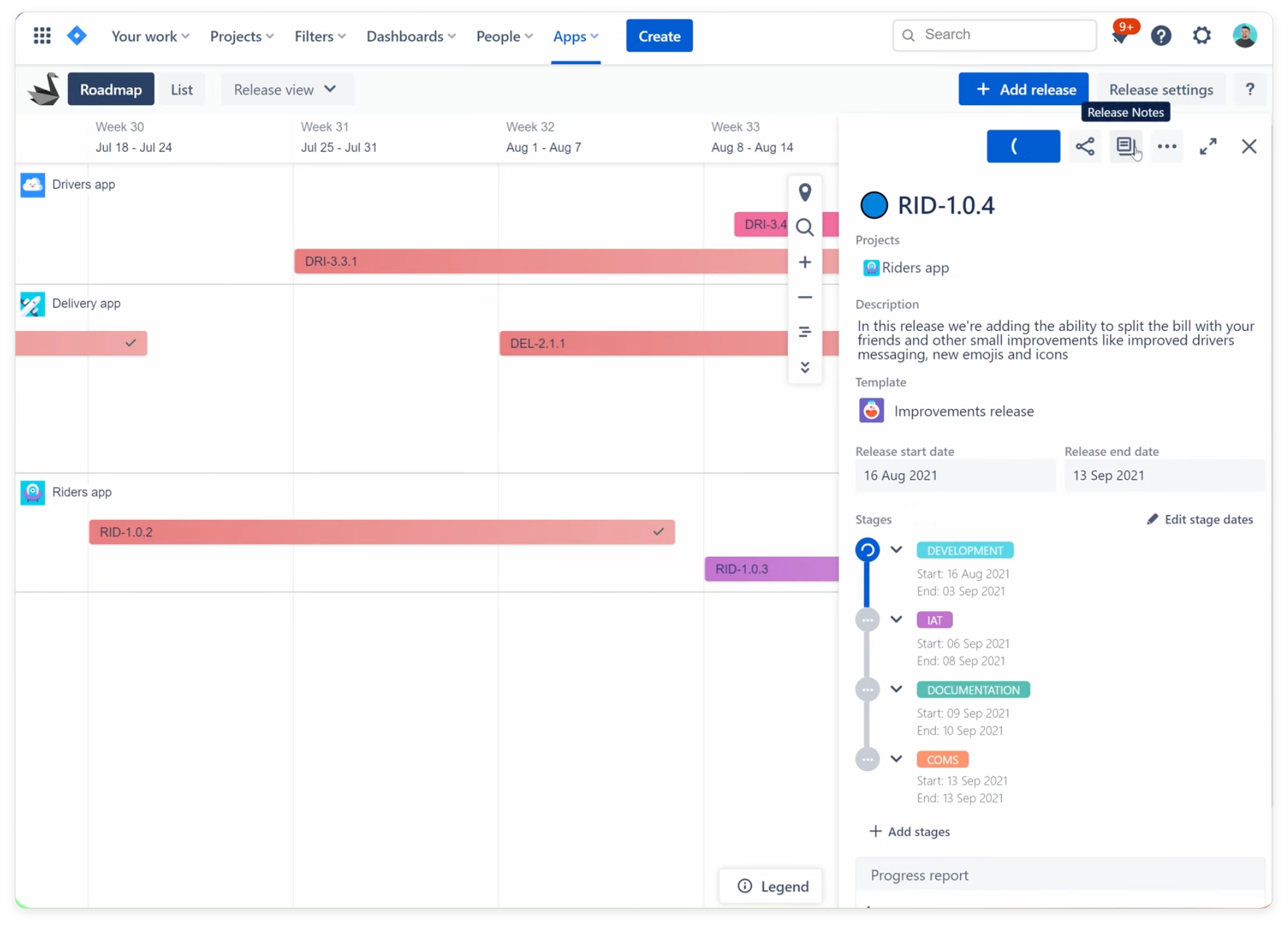 Progress scope is available for all in Swanly roadmap for Jira